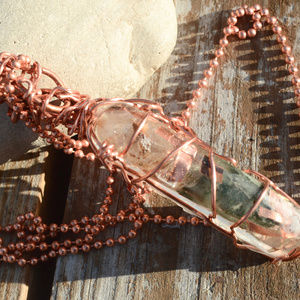 Genuine Emerald Herkimer Diamond Pendant Copper